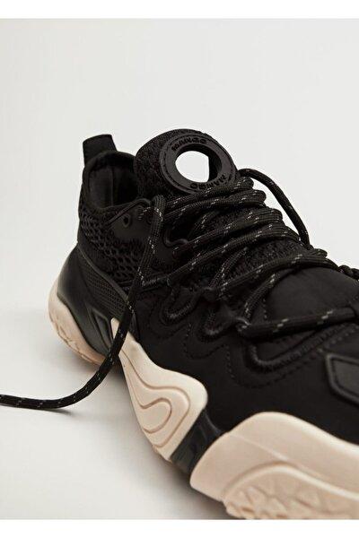 Kadın Siyah Büyük Tabanlı Spor Ayakkabı