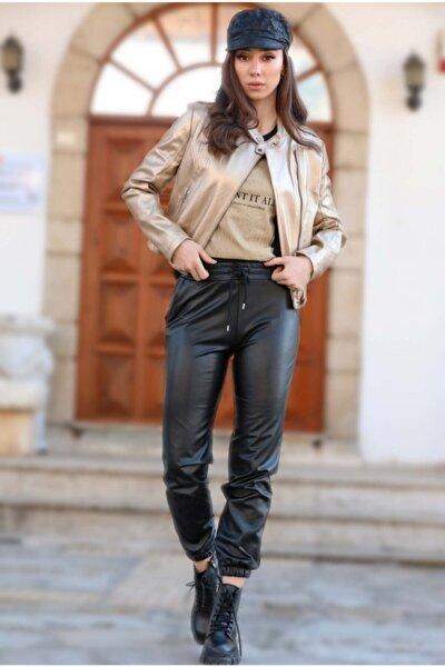 Kadın Giyim Paçası Ve Beli Lastikli Suni Deri Pantolon