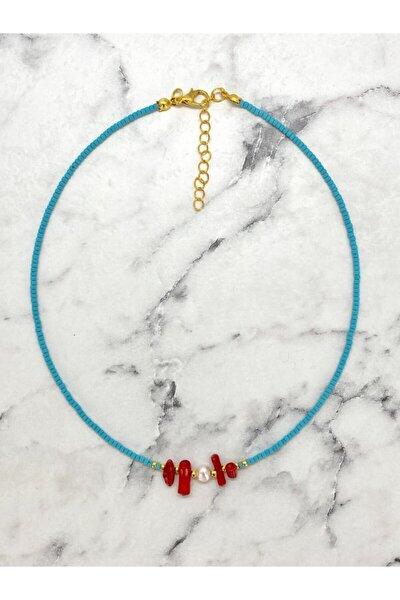 Kadın Kırmızı Mercan Taşlı Barok Incili Mavi Tasarım Kolye
