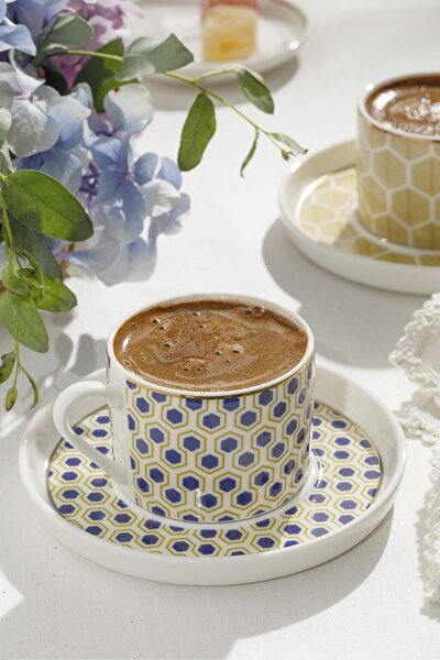 Locus Comb New Bone 2 Kişilik Kahve Fincan Takımı 80 ml Sarı - Mavi
