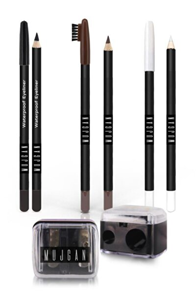 4'lü Set Siyah Göz Kalemi Beyaz Göz Kalemi Kahverengi Kaş Kalemi Izla Açacak