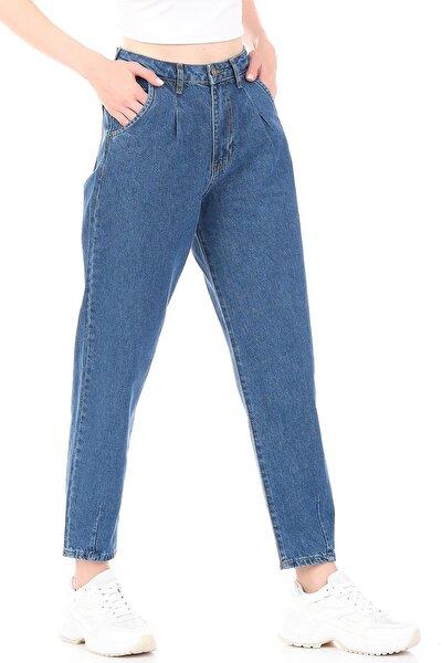 Önü Pileli Mavi Yüksek Bel Kadın Balon Jean