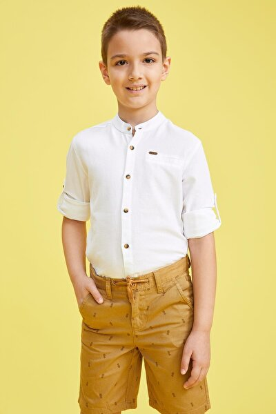 Erkek Çocuk Hakim Yaka Kolları Katlanabilir Pamuklu Gömlek M4526A620SP