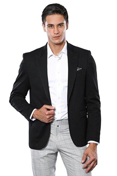 Düz Hafif Kumaş Siyah Slim Fit Spor Ceket |