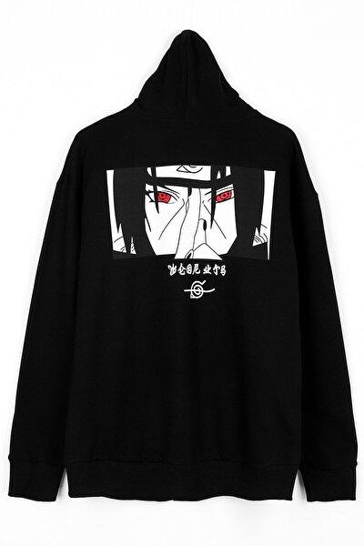 Itachi Göz Detay Siyah Fermuarlı Unisex Sweatshirt