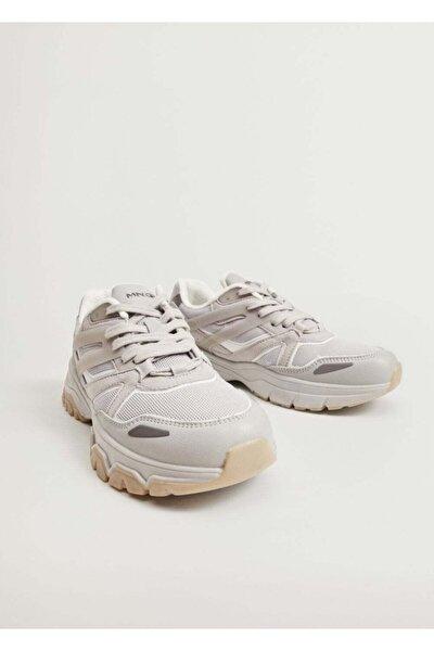 Kadın Gri Tırtıklı Taban Spor Ayakkabı