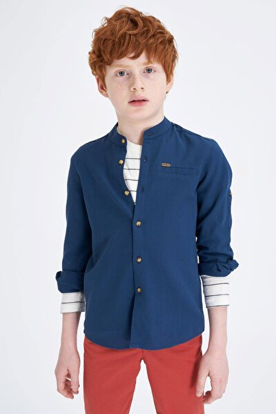 Erkek Çocuk Hakim Yaka Kolları Katlanabilir Pamuklu Gömlek M4526A620SPN