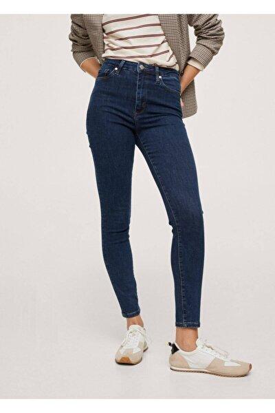 Kadın Koyu Mavi Yüksek Bel Skinny Jean Pantolon