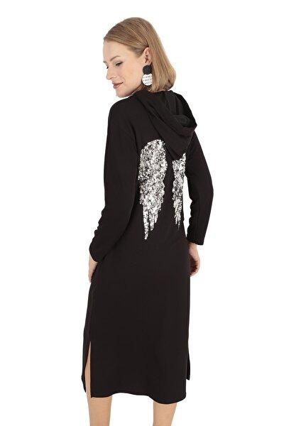Kadın Siyah Sırtı Payetli Kapüşonlu Maxi Sweat Elbise
