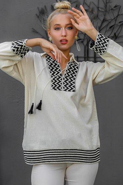 Kadın Bej Gömlek Yaka Dev Şerit Detaylı Püskül Bağlamalı Salaş Dokuma Bluz M10010200BL94873