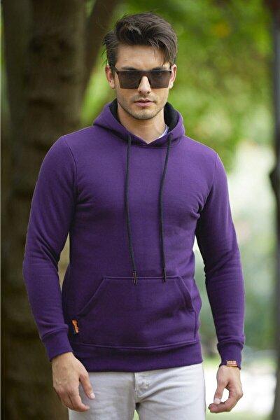 Mor Renk Kanguru Cepli Kapüşonlu Sweatshirt 1205