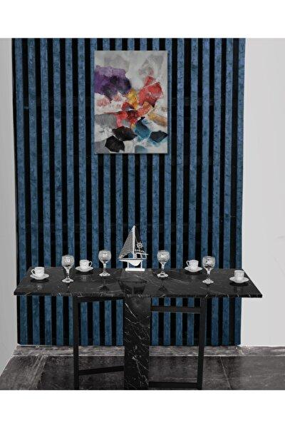 Portatif Katlanır Taşınabilir Yemek Masası En Super Açılır Kapanır Masa Siyah Mermer