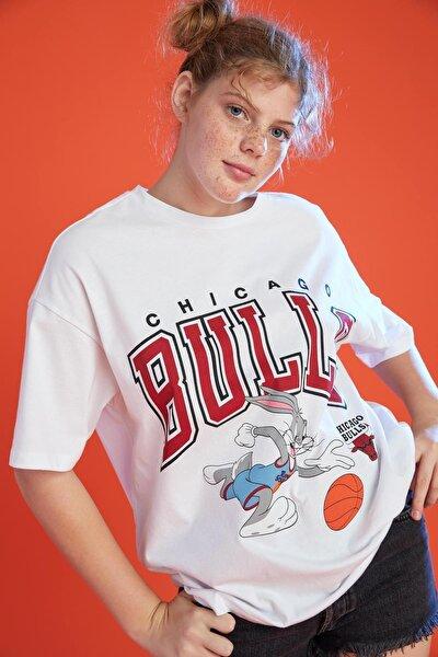 Coool Nba X Space Jam 2 Chicago Bulls Lisanslı Oversize Fit Tişört