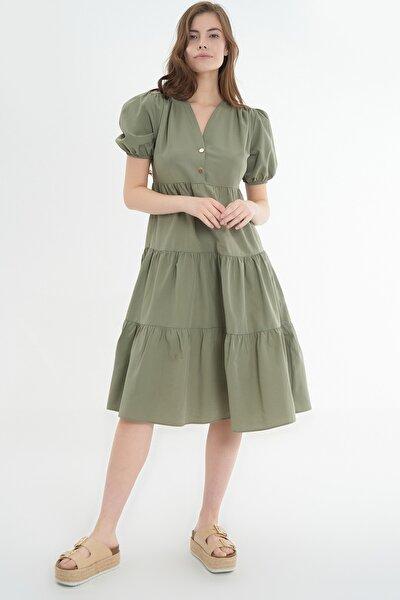 Kadın Volanlı Kısa Kollu Midi Elbise Y20s110-1937