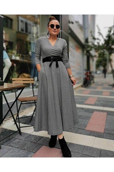 Krep Kumaş Kazayağı Desen Kuşaklı Elbise (119 Cm)