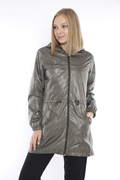 Kadın Spor Haki Yağmurluk, Rüzgarlık, Ince Cepli Ceket