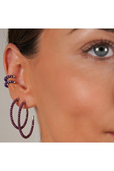 Jewellery Orta Aloha Halka Küpe (3,5cm) Menekşe Mor