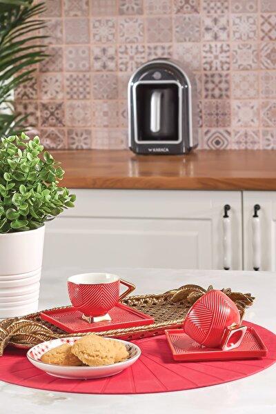 Art Deco Kırmızı 2 Kişilik Kahve Fincanı Takımı