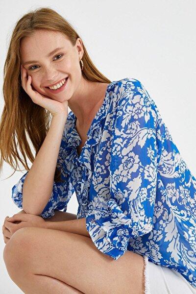 Kadın Desenli Bluz Firfirli