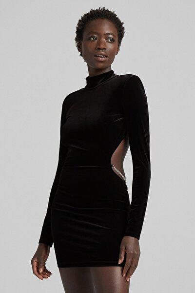 Parlak Taşlı Kadife Elbise