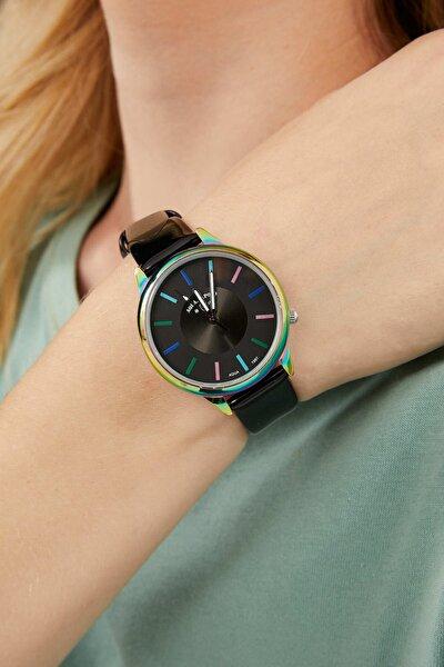 Aqua Di Polo Neon Kasa Detaylı Özel Tasarım Deri Siyah Kordon Kadın Kol Saati Apsv1-a6340-kd33c