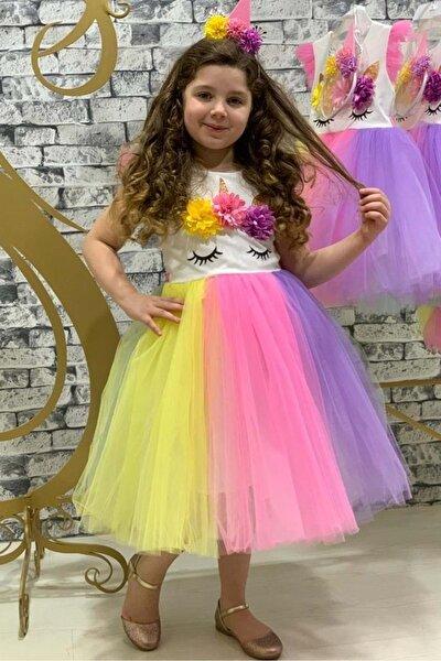 Rengarenk Sanç Bantlı Kız Çocuk Parti Elbisesi