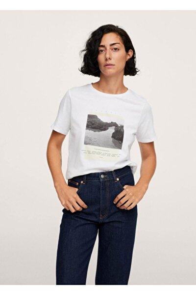 Kadın Beyaz Desenli Koton Tişört