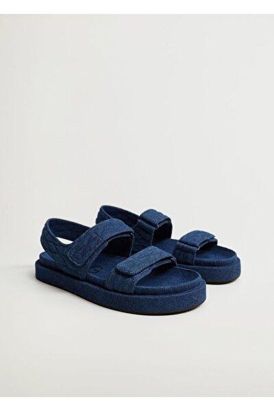 Kadın Donuk Mavi Pamuklu Kot Sandalet