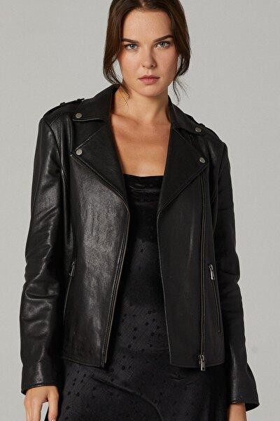 Kadın Siyah Sheila Deri Ceket