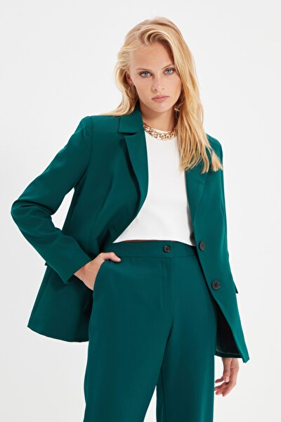 Yeşil Düğmeli Blazer Ceket TWOAW22CE0294
