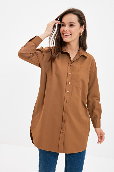 Koyu Kahverengi Gömlek Yaka Tunik TCTAW22UK0080