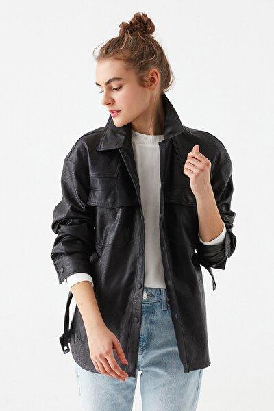 Kadın Kemerli Siyah Ceket 110803-900