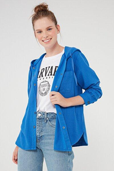Kadın Kapüşonlu Mavi Gömlek 122844-34933