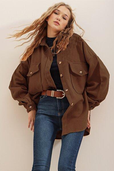 Kadın Kahverengi Kaşe Pamuklu Oversize Ceket Gömlek ALC-X7143