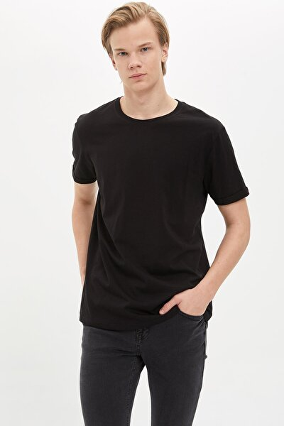 Erkek Siyah Long Fit Uzun Bisiklet Yaka Basic Siyah Tişört M4793AZ20SPBK