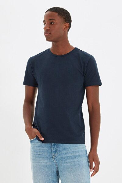 Lacivert Basıc Erkek Slim Fit Pamuklu Kısa Kollu Bisiklet Yaka T-Shirt TMNSS19BO0001