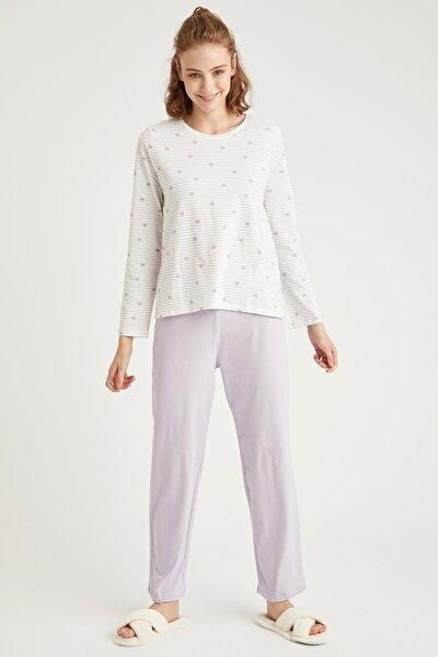 Kadın Mor Minimal Baskılı Uzun Kollu Pijama Takımı T1193AZ20WNPR