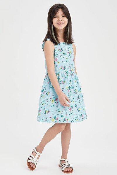 Kız Çocu Çiçek Desenli Kolsuz Pamuklu Elbise