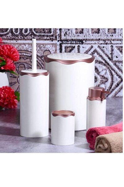 4 Parça Akrilik Beyaz Mat Bakır Banyo Seti Fma02788