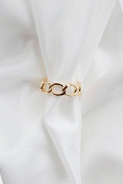 Kadın Gold Ayarlanabilir Oval Zincir Yüzük