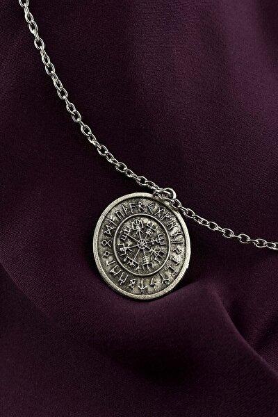 Viking Pusulası Gümüş Kaplama Zincir Kolye