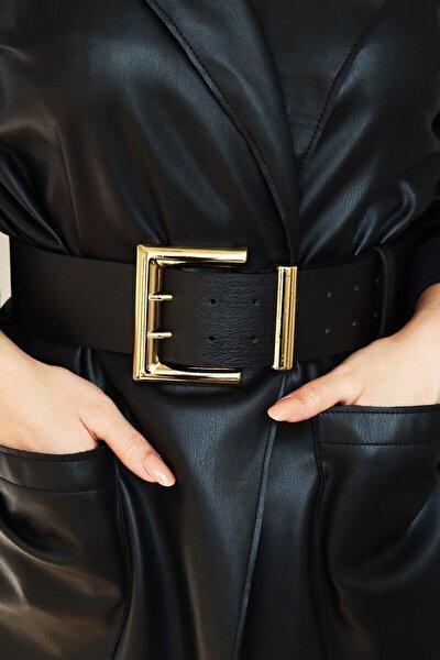 Kadın Gold Tokalı Çift Sıra Siyah Kemer