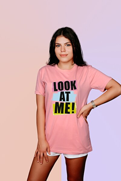 Kadın Somon Bana Bak Yazılı Baskılı Oversize T-shirt T5025464