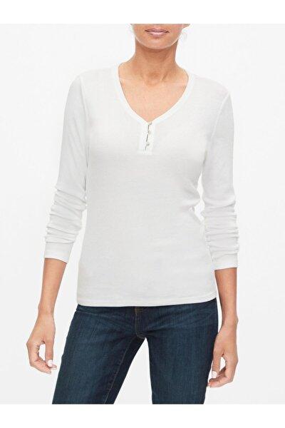Kadın Beyaz Henley Uzun Kollu T-shirt