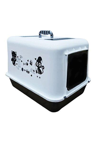 Hediyeli Kapalı Kedi Tuvalet Kabı 54,5 X 39,5 X 39 Cm Kırılmaz Flip Kapak Kürek Hediyeli