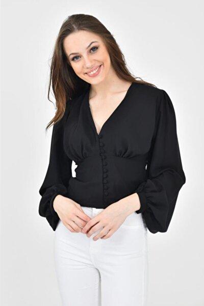 V Yaka Düğmeli Balon Kol Siyah Kadın Bluz