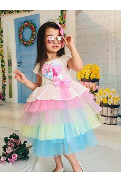 Unicorn Renkli Pul Payet Tokalı Kız Çocuk 4 Yaş Parti Elbisesi