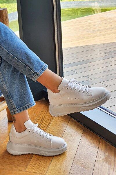Kadın Kalın Taban Sneaker Spor Ayakkabı RasofBeyaz