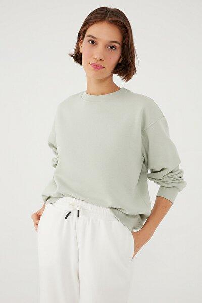 Kadın Bisiklet Yaka Yeşil Sweatshirt 1610198-70148