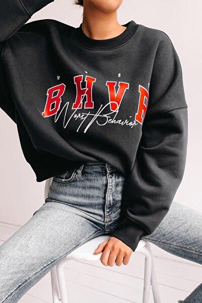 Kadın Mad Girls Siyah Nakışlı Sweatshirt Mg813
